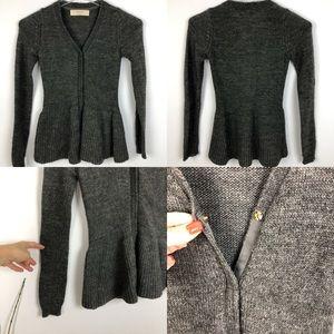 Zara knit peplum sweater alpaca wool blend Small